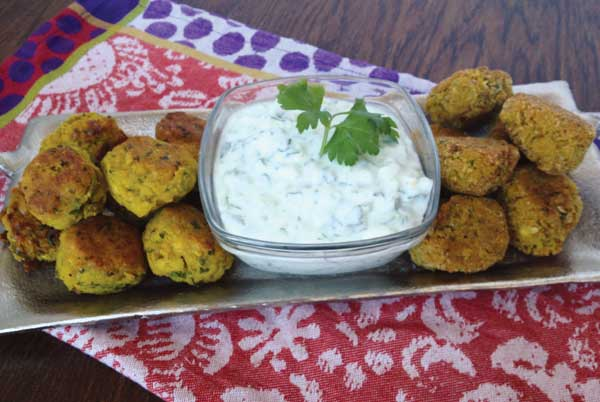 Gluten-Free Falafels (on left) Regular Falafels (on right) with Meyer Lemon Yogurt Dip.