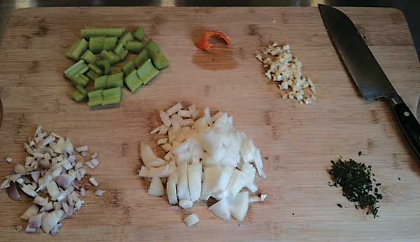 Chopped and sliced ingredients.