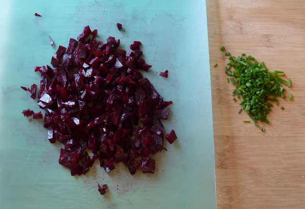 Diced beet and chopped chives.