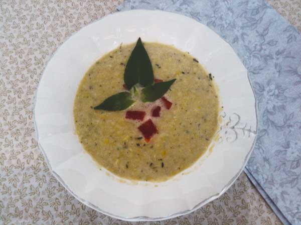 Corn Bisque with Pineapple Sage.