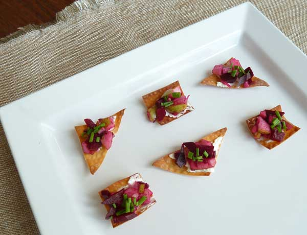 Wonton Crisps with Beets, Chives and Goat Cheese.