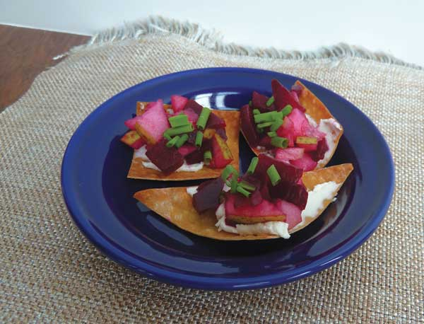 Roasted beet with pear and goat cheese one bite.