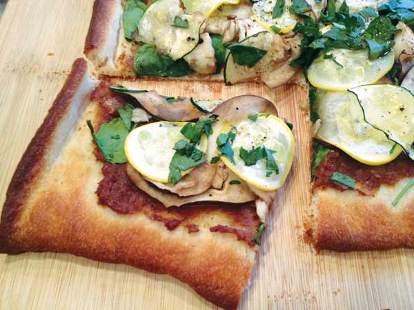 Vegetable Pizza with Fennel Sauce.