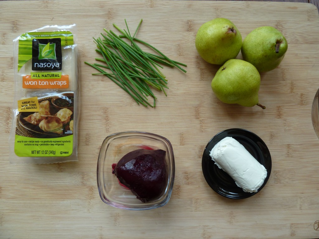 Package of wonton wrappers, chives, pears, goat cheese and roasted beet.