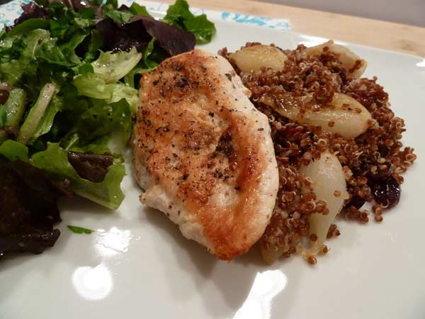 Red Quinoa with Ancho Chile Roasted Pearl Onions and Cranberries served with organic chicken and mixed green salad.