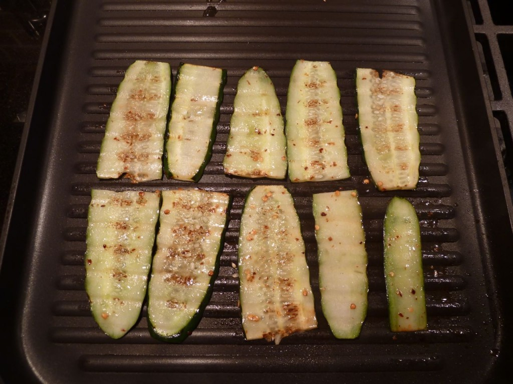 Grilled spicy cucumbers.