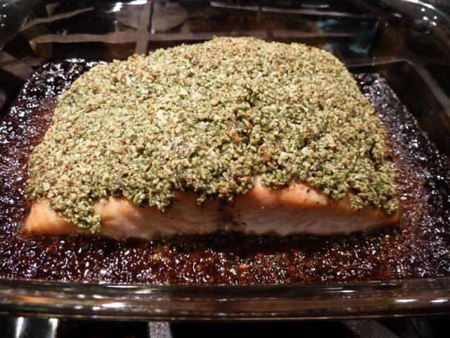 Summer Crusted Salmon, fresh out of the oven.