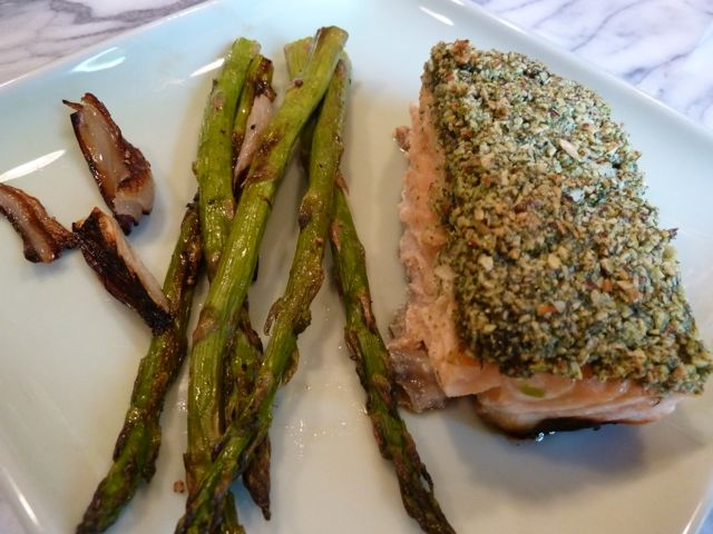 Summer Crusted Salmon with roasted asparagus and roasted shallots.