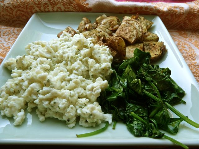 Egg White and Dill Scramble with home fries and baby spinach. ©Reel ...