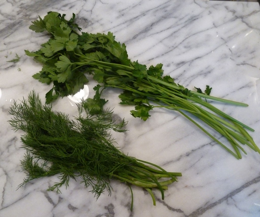 Fresh dill and parsley.