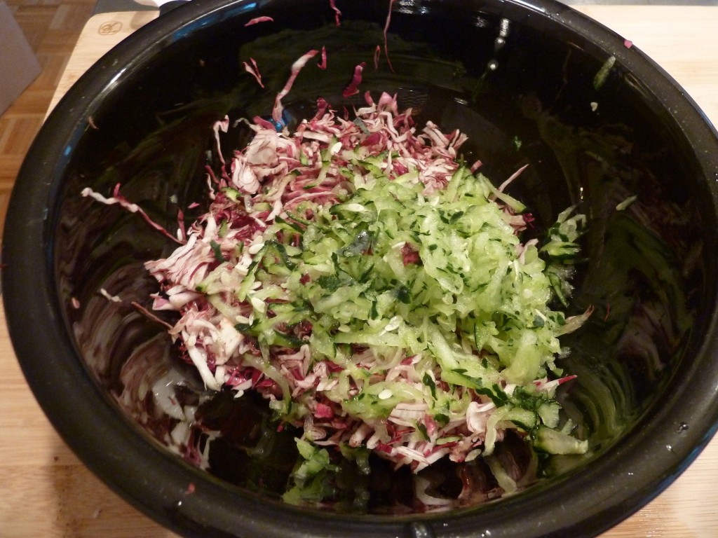 Shredded radicchio and cucumber.