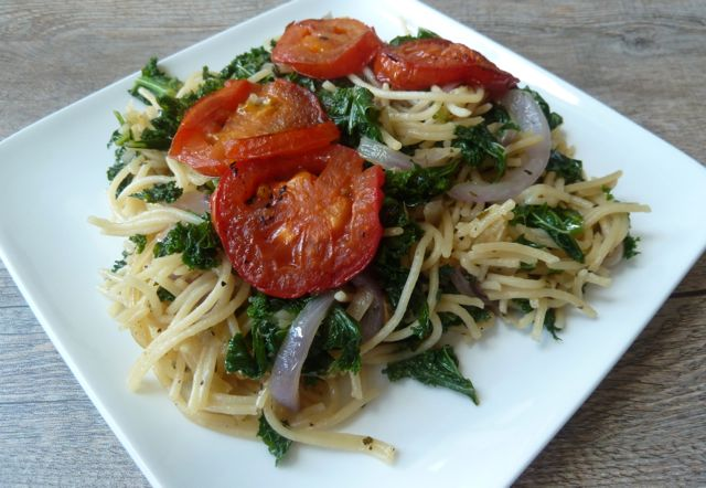 Quinoa Spaghetti with Kale and Roasted Tomatoes.