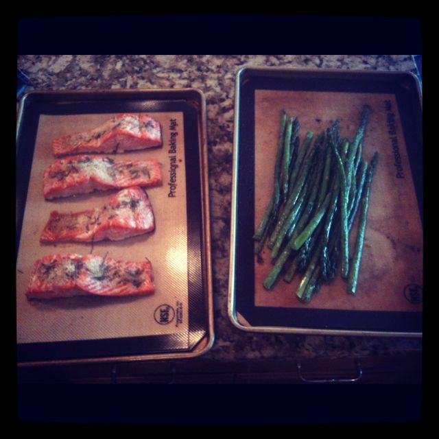 Wild salmon and roasted asparagus.