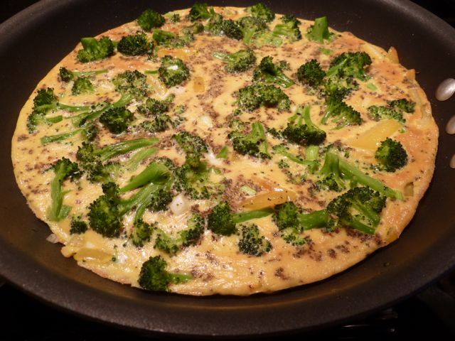 Frittata just out of the broiler.
