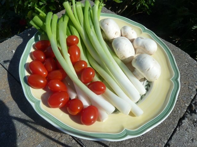 Tomatoes, scallions and mushrooms to add to the green salad.