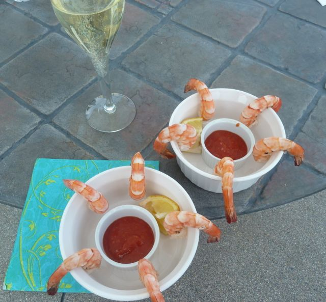 Enjoying Shrimp Cocktail with Cava.
