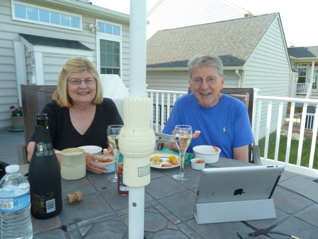 Ron's parents enjoying shrimp cocktail.