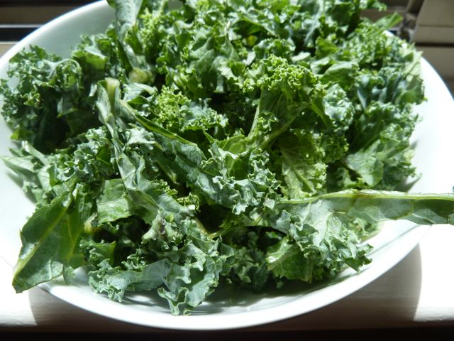 Chopped kale.