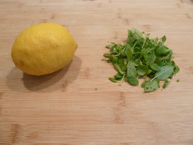 Lemon and fresh basil.