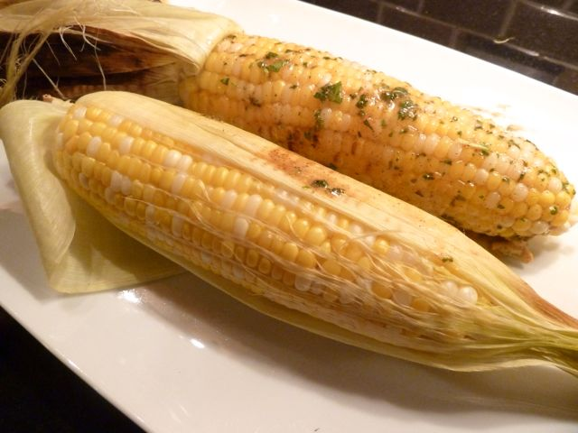 Grilled corn topped with Summer Corn Spread.