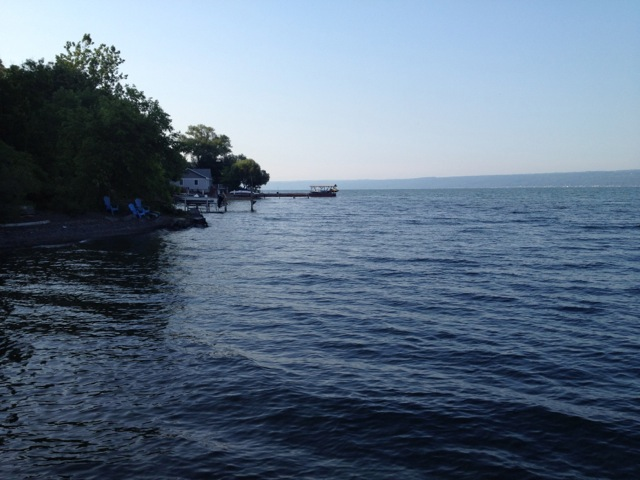 View of Cayuga Lake at our friends lake front cottage.