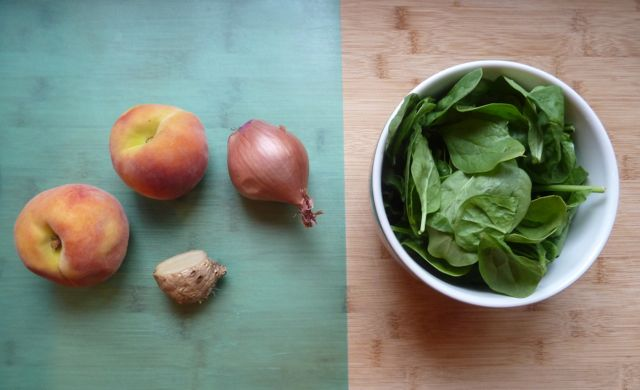 Peaches, ginger, shallot and fresh spinach.
