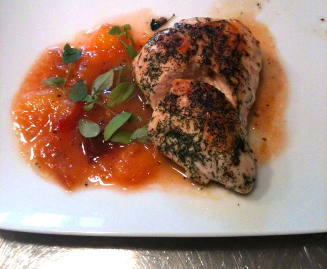 Organic chicken breast with Japanese plum chutney and basil.