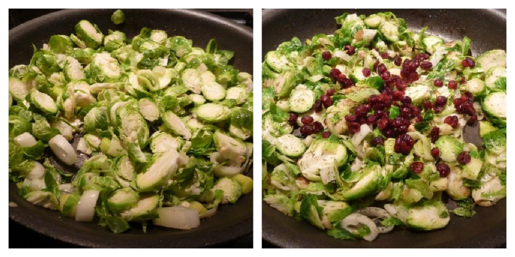 Saute the brussel sprouts and leeks with dried dill, mustard powder and dried cranberries.