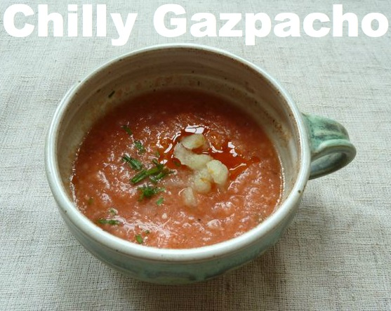 Chilly Gazpacho with Ancho Chile Oil.