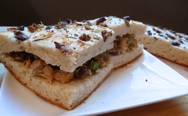 Homemade tuna sandwiches on fresh baked focaccia.