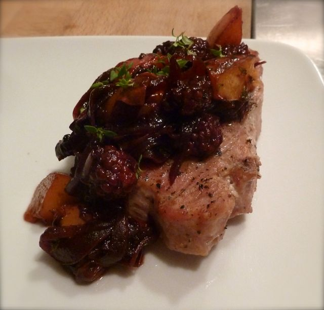 Pork with Grilled Fruit Chutney.