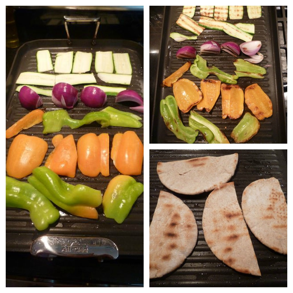 Grill the veggies and the pita bread.