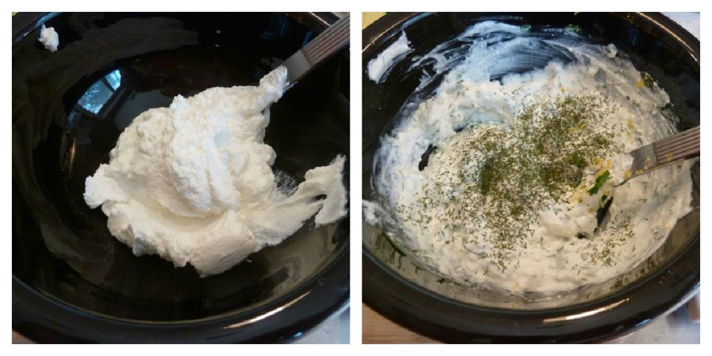 Mix together the herbs, yogurt, ricotta, lemon juice and zest.