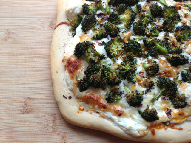 Roasted Broccoli and Garlic Pizza with Ancho Chili Oil