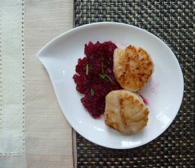 Seared Scallops with Beet Ginger Puree