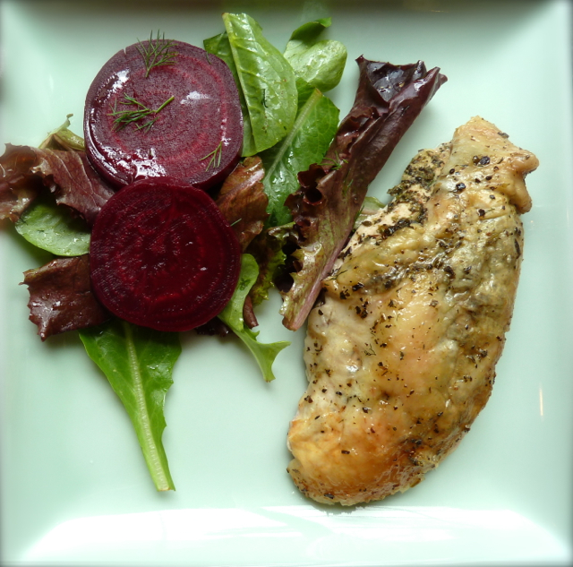 Sapporo Roasted Organic Chicken with a side of organic beet and dill salad tossed in an orange vinaigrette.